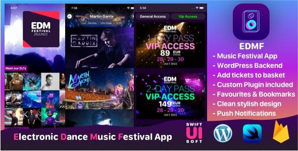 EDMF - Music Festival IOS App with WordPress backend.