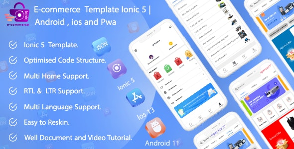 Ecommerce Ionic 5 App Template Android ios and pwa - CodeCanyon Item for Sale