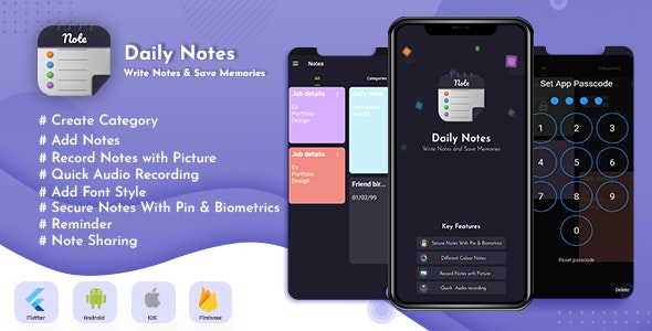 Daily Notes App - Flutter App Notes, Notepad & FireBase using with Clean & Minimal UI - CodeCanyon Item for Sale