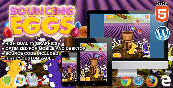 Bouncing Eggs - HTML5 Physics game - CodeCanyon Item for Sale