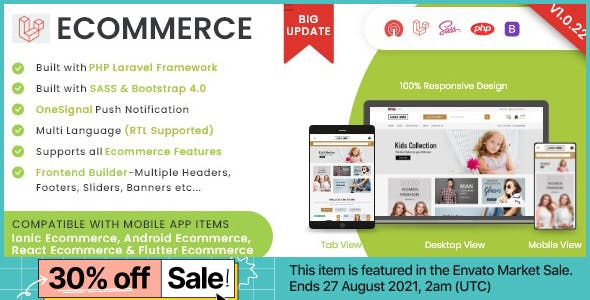 Laravel Ecommerce - Universal Ecommerce/Store Full Website with Themes and Advanced CMS/Admin Panel