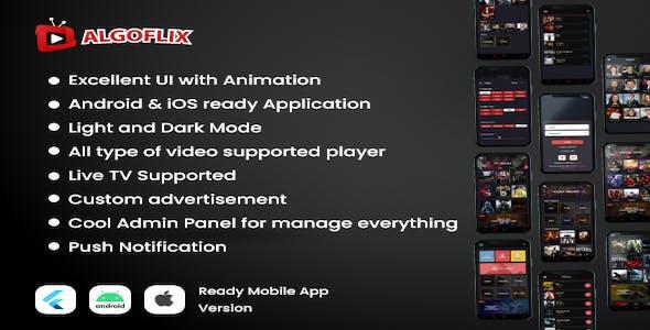 AlgoFlix - The Complete Flutter Movie, TV Series and Live TV App
