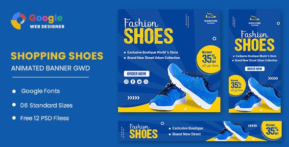 Fashion Shoes Product HTML5 Banner Ads GWD