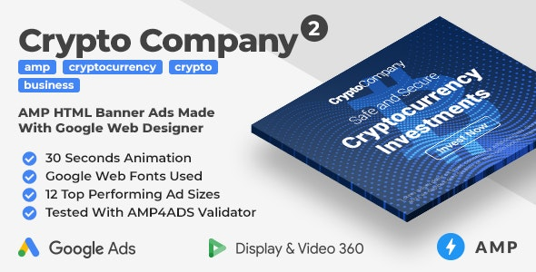 Crypto Company 2 - Animated AMP HTML Banner Ad Templates (GWD, AMP) - CodeCanyon Item for Sale