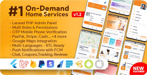 On-Demand Home Services, Business Listing, Handyman Booking with Admin Panel v1.2.1