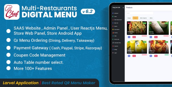 CHEF - SaaS - Contactless Multi-restaurant QR Menu Maker - CodeCanyon Item for Sale