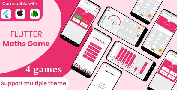 Flutter maths games 4 in 1 with admob ready to publish template