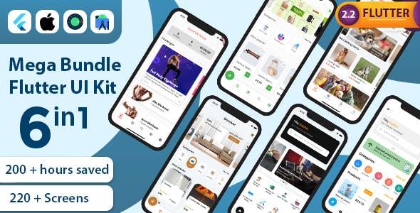 Mega Bundle Flutter UI Kit | All in one | 6 Premium Apps (Add 1 App Every Month)