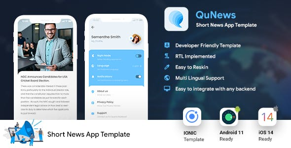 Short News Android App Template + iOS App Template   IONIC 5   News App   QuNews