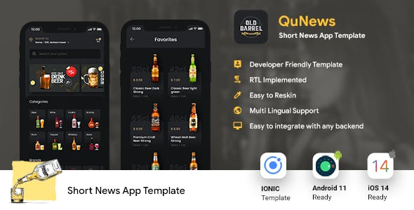 Online Liquor Buying Android App + iOS App Template   IONIC 5   OLD BARREL