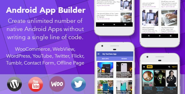 Android App Builder - WooCommerce, WebView, Wordpress & much more - CodeCanyon Item for Sale