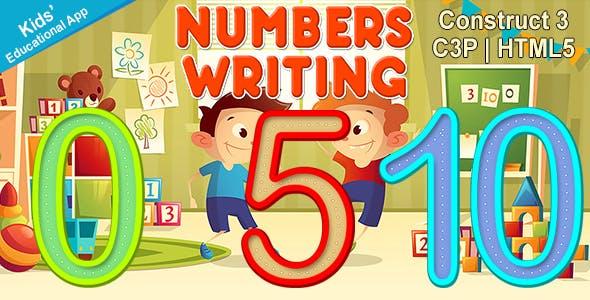 Numbers Writing App (Construct 3 | C3P | HTML5) Kids Educational App