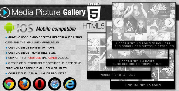 HTML5 Media Picture Gallery - CodeCanyon Item for Sale