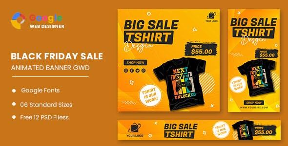 Big Sale Tshirt HTML5 Banner Ads GWD