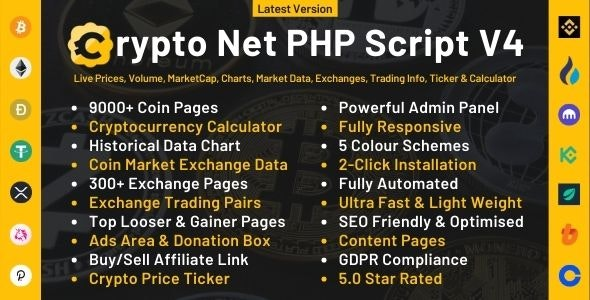 Crypto Net - CoinMarketCap, Prices, Chart, Exchanges, Crypto Tracker, Calculator & Ticker PHP Script - CodeCanyon Item for Sale