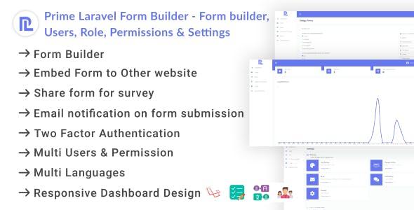 Prime Laravel Form Builder - Form builder, Users, Role, Permissions & Settings