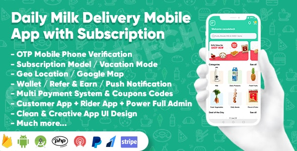 Dairy Products, Grocery, Daily Milk Delivery Mobile App with Subscription   Customer & Delivery App - CodeCanyon Item for Sale