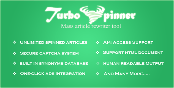 Turbo Spinner: Article Rewriter - CodeCanyon Item for Sale