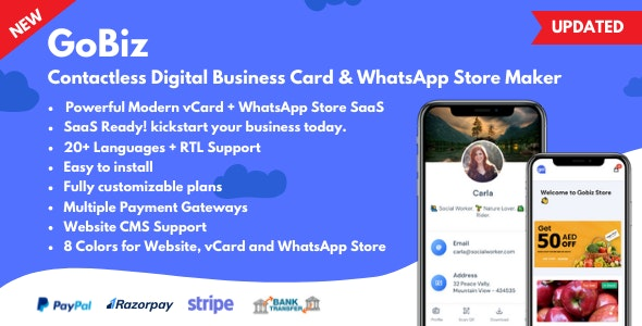 GoBiz v4.0.1 – Digital Business Card + WhatsApp Store Maker | SaaS | vCard Builder