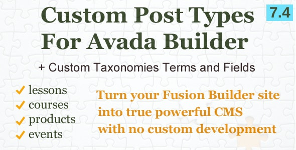 Custom Post Types, Taxonomies and Fields for Avada Builder - CodeCanyon Item for Sale