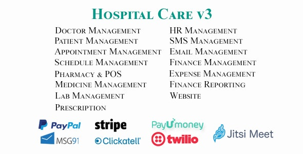 Hospital Care - Advanced Hospital / Clinic / Medical Center Management System - CodeCanyon Item for Sale