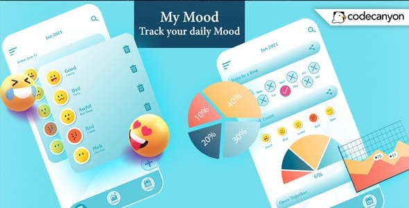 Android My Mood Tracker -  your daily Mood, Diary, Journal (Android 11) - CodeCanyon Item for Sale