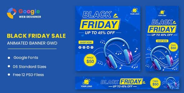 Black Friday Sale Headphone HTML5 Banner Ads GWD