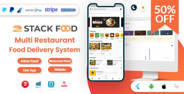 StackFood Multi Restaurant v3.0 – Food Delivery App with Laravel Admin and Restaurant Panel – nulled
