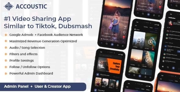 Flutter Video sharing app like tiktok dubsmash Clone - Acoustic - CodeCanyon Item for Sale