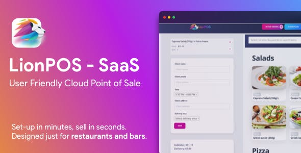 Lion POS - SaaS Point Of Sale Script for Restaurants and Bars with floor plan