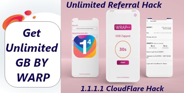 Android app for getting unlimitedWARP+data on Cloudflare's 1.1.1.1 - CodeCanyon Item for Sale