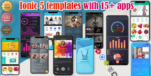 ionic 5/6 themes bundles / ionic 5 templates with 15+ apps