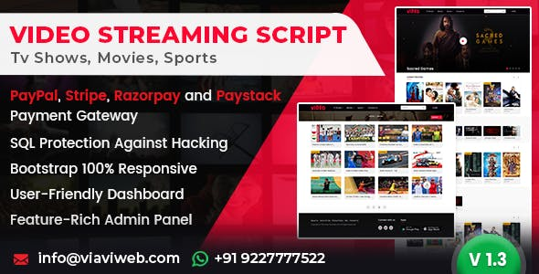 Video Streaming Portal (TV Shows, Movies, Sports, Videos Streaming, Live TV)