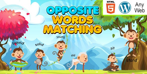 Opposite Words Matching Kids Learning Game (HTML5) Educational Game