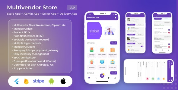 Multivendor Store (Amazon, Flipkart, Walmart) with Seller App, Admin App and Delivery App (4 Apps) - CodeCanyon Item for Sale