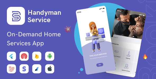 Handyman Service - Flutter On-Demand Home Services App with Complete Solution - CodeCanyon Item for Sale