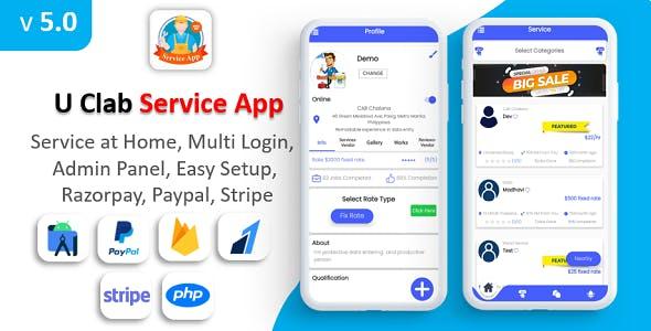 U Clab Service App   Service At Home   Multi Payment Gateways Integrated   Multi Login