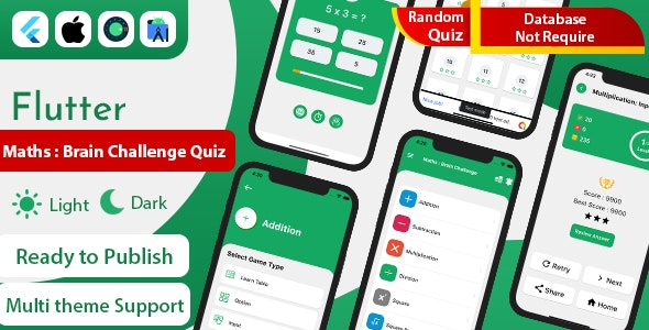 Flutter Maths Quiz : Brain Challenge with admob ready to publish - CodeCanyon Item for Sale