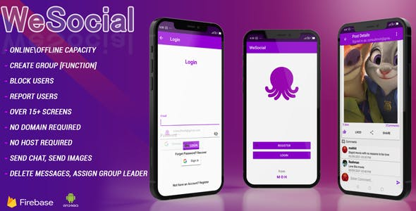 WESOCIAL Facebook and Twitter clone social networking app Android studio + Firebase + Chat