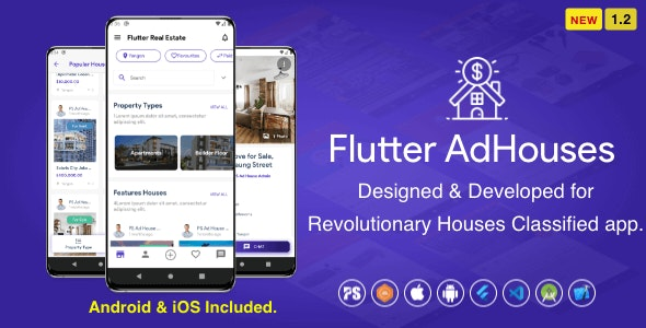 Flutter AdHouses For House Classified BuySell iOS and Android App with Chat ( 1.2 ) - CodeCanyon Item for Sale