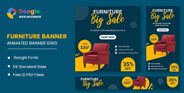 Furniture Google Adwords HTML5 Banner Ads GWD - CodeCanyon Item for Sale