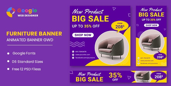 Furniture Model  Google Adwords HTML5 Banner Ads GWD - CodeCanyon Item for Sale