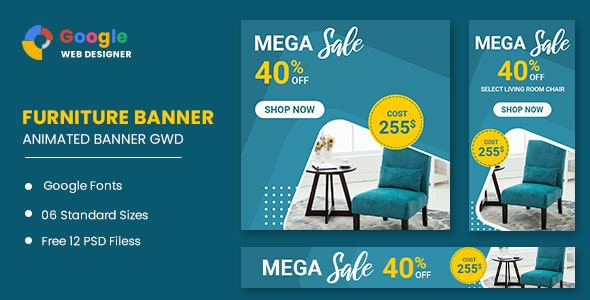 Furniture Sale Google Adwords HTML5 Banner Ads GWD - CodeCanyon Item for Sale