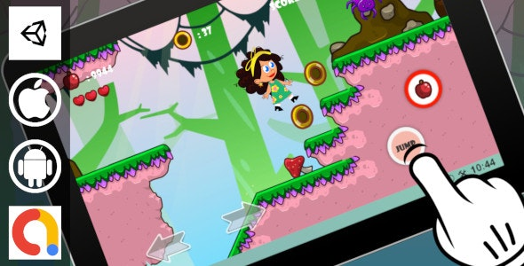 Adventurous Girl Unity Cartoon Platformer Game With 10 Levels + Admob For Android and iOS - CodeCanyon Item for Sale