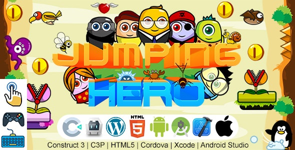 Jumping Hero Game (Construct 3   C3P   HTML5   Cordova   XCode   Android Studio) Jumping Game - CodeCanyon Item for Sale