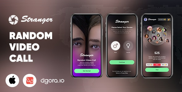 Stranger - Random Video Call with people  - Gender Match - In-app purchase - Agora | iOS | Laravel - CodeCanyon Item for Sale