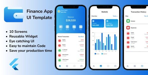 Finance App UI Template - Flutter