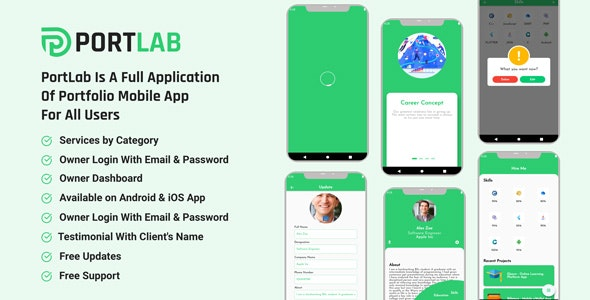 PortLab - Portfolio Mobile App - CodeCanyon Item for Sale