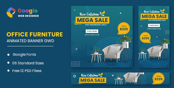 Office Furniture Google Adwords HTML5 Banner Ads GWD - CodeCanyon Item for Sale