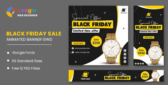 Black Friday Sale Watch HTML5 Banner Ads GWD - CodeCanyon Item for Sale